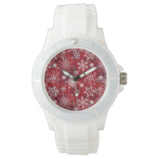 Classic Christmas Holiday Snowflake Pattern Wrist Watch