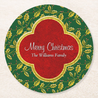 Classic Christmas Holly Personalize Round Paper Coaster