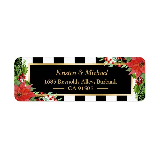 Classic Christmas Poinsettia Floral Gold Frame Return Address Label