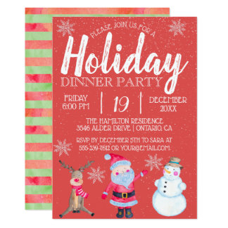 Classic Christmas Santa Holiday Dinner Party Card