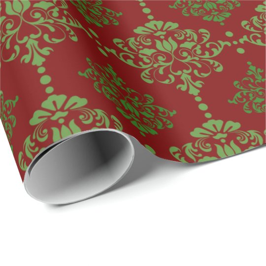Classic Christmas Wrap Damask Red Green Wrapping Paper