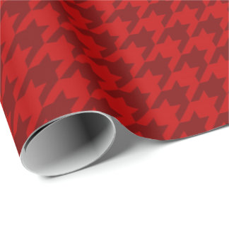 Classic Christmas Wrap Houndstooth Red Burgundy Wrapping Paper