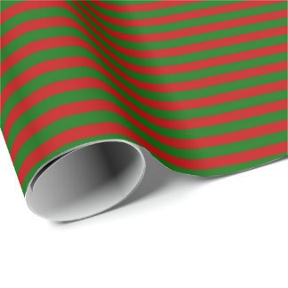Classic Christmas Wrap Red Green Burgundy Stripes Wrapping Paper
