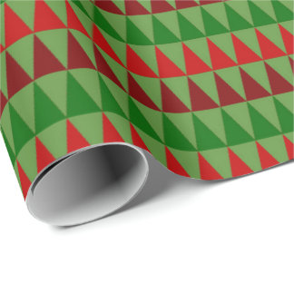 Classic Christmas Wrap Red Green Burgundy Triangle Wrapping Paper