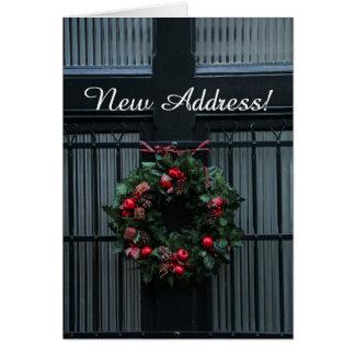 Classic Christmas wreath new address Greeting Card