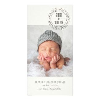 Classic Circle Seal Baby 1st Christmas Photo Card