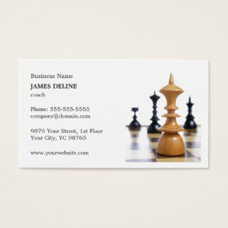 Classic Clean Chess Figures Coach Business Card