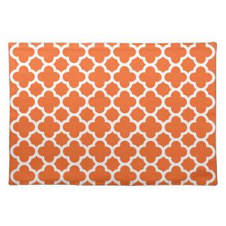 Classic Clover Quatrefoil Pattern in Orange Placemat