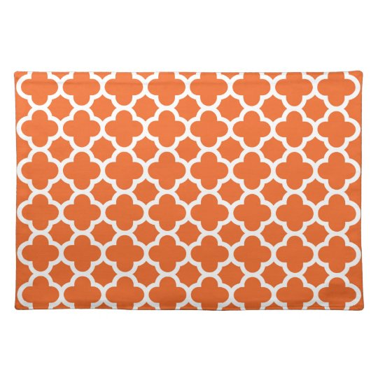 Classic Clover Quatrefoil Pattern in Orange Placemat