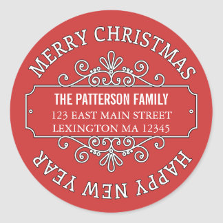 Classic Contemporary Merry Christmas Label Round Sticker