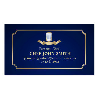 Classic Cook Chef Business Card Gold & Blue