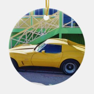 Classic Corvette Stingray. Round Ceramic Decoration