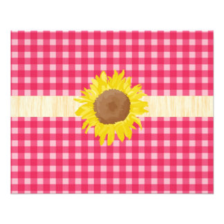 Classic country pink plaids and sunflowers. personalized flyer