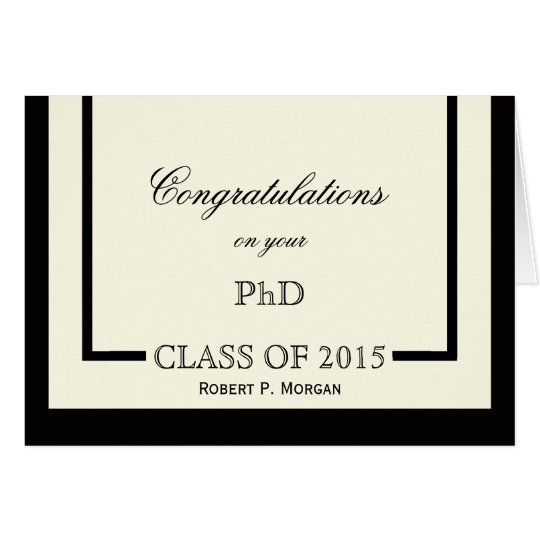 Classic Cream PhD Graduation Card