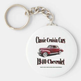 Classic Cruisin Cars 1940 Chevrolet Basic Round Button Key Ring