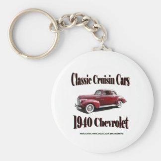 Classic Cruisin Cars 1940 Chevrolet Basic Round Button Key Ring