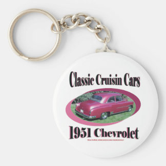 Classic Cruisin Cars 1951 Chevrolet Basic Round Button Key Ring