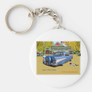 Classic Cruisin Cars 1957 Chevrolet Blue Basic Round Button Key Ring