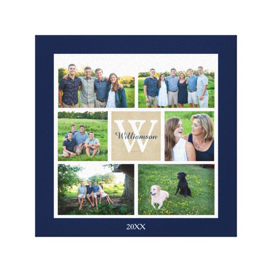 Classic Custom Monogram Family Photo Collage Canvas Print