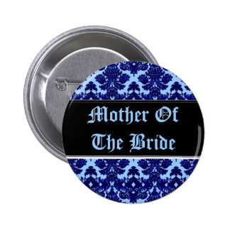 Classic Damask Blue (Wedding) 6 Cm Round Badge