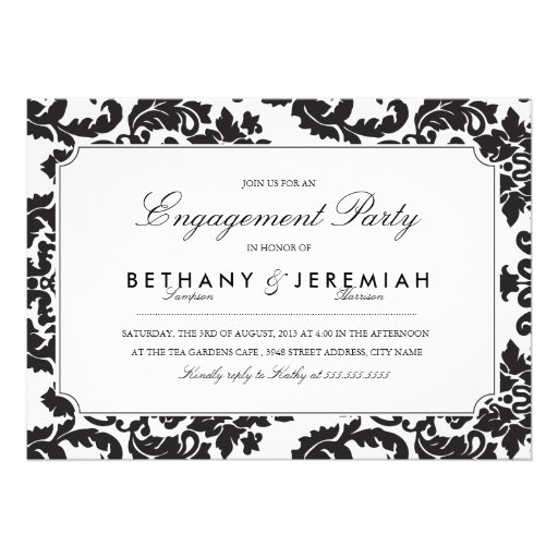 Classic Damask Engagement Party Invitation