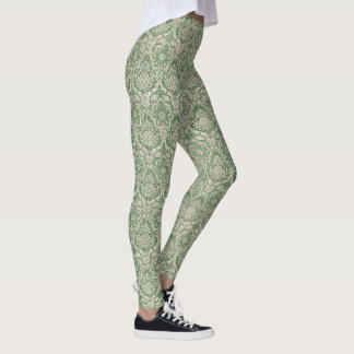Classic damask green pattern leggings