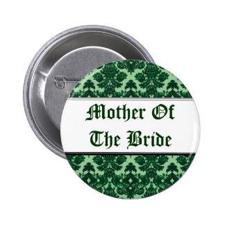 Classic Damask Green (Wedding) 6 Cm Round Badge