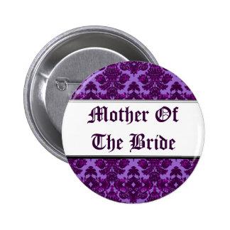 Classic Damask Purple (Wedding) 6 Cm Round Badge