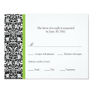 Classic Damask Reply 11 Cm X 14 Cm Invitation Card