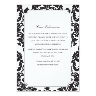 Classic Damask Wedding Insert 11 Cm X 16 Cm Invitation Card