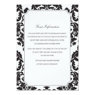 Classic Damask Wedding Insert 11 Cm X 16 Cm Invitation Card