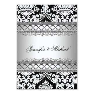 "Classic Damask Wedding Party Invitation 5"" X 7"" Invitation Card"