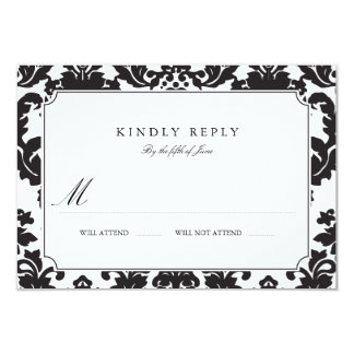 Classic Damask Wedding RSVP 9 Cm X 13 Cm Invitation Card