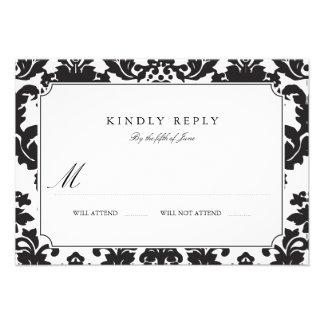 Classic Damask Wedding RSVP Personalized Invites