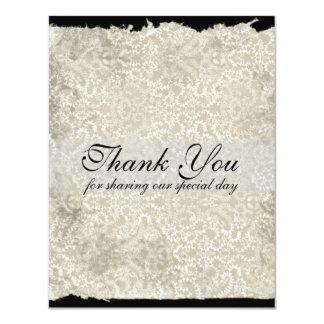 Classic Damask Wedding Thank You Notes, Black 11 Cm X 14 Cm Invitation Card