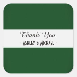 Classic Dark Green Thank You Square Sticker