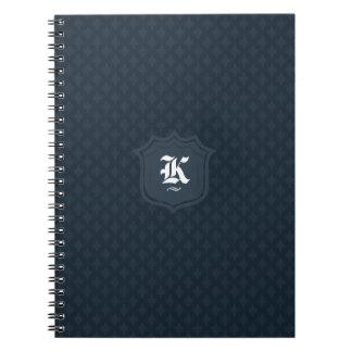 Classic Dark Navy Blue Personalized Monogram Note Books