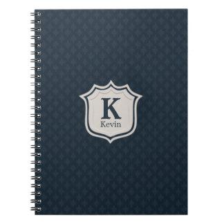 Classic Dark Navy Blue Personalized Monogram Notebooks