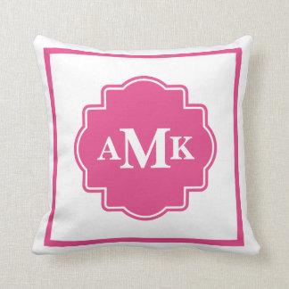 Classic Dark Pink and White Monogram Pillow
