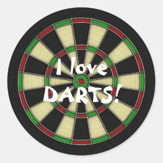 Classic Dart Board Design, Darts, Dart Games Round Sticker