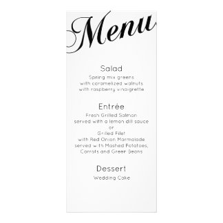 Classic dinner menu. Traditional wedding table Rack Card