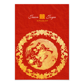 Classic dragon double happiness wedding invitation