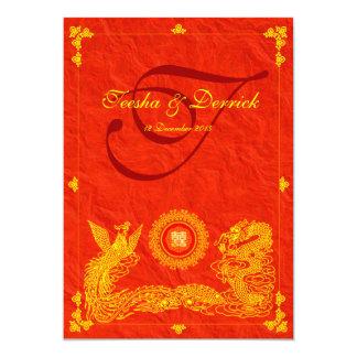 classic dragon phoenix chinese wedding invitation