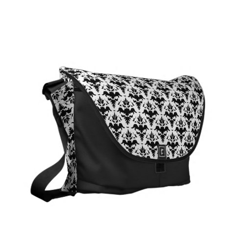 Classic Elegance Black and White Damask Pattern Courier Bag
