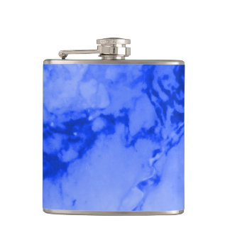 Classic Elegance Luxury Deep Blue Marble Stone Hip Flask