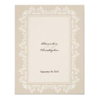 Classic Elegant Damask Wedding Announcement