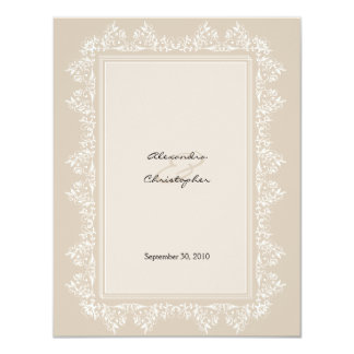 "Classic Elegant Damask Wedding Announcement 4.25"" X 5.5"" Invitation Card"
