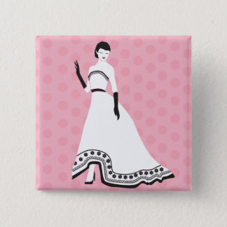 Classic Elegant Girl 15 Cm Square Badge