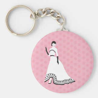 Classic Elegant Girl Basic Round Button Key Ring