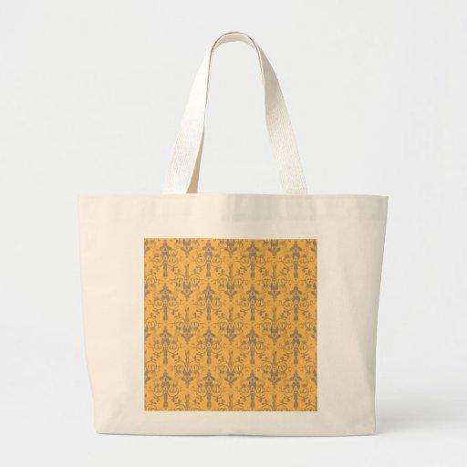 Classic Elegant Green Damask Pattern Canvas Bags